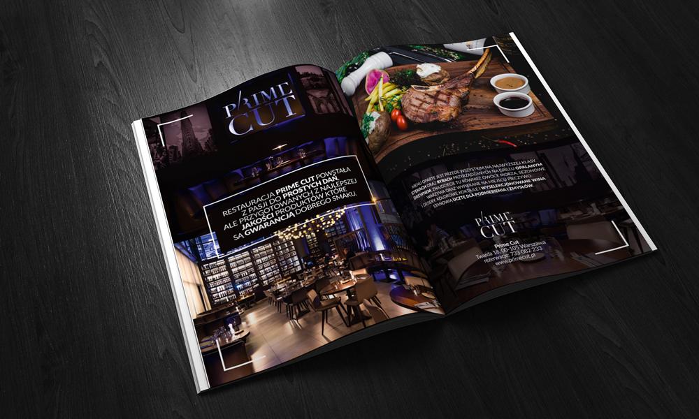 reklama prasowa prime cut restauracja studio graficzne dsn studio grafik warszawa